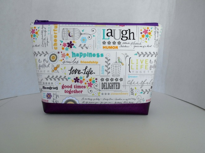 Stitch ALL The Things | Live Laugh Love Purple Glitter Vinyl Bottom Project Bag