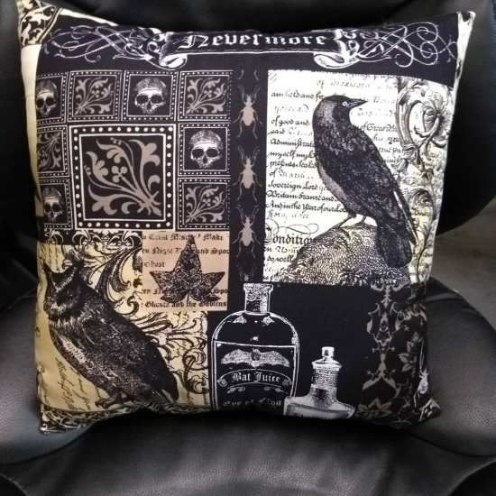 Stitch ALL The Things | Nevermore Raven Pillow Back