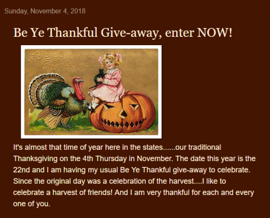 Be Ye Thankful Giveaway VMSS