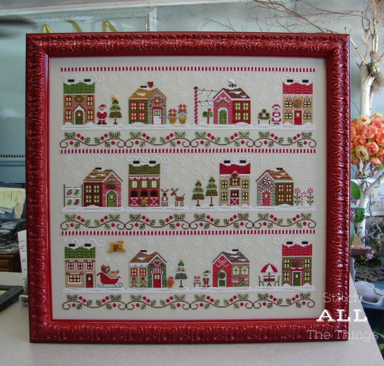 Stitch ALL The Things | Santa's Village framed by Jill Rensel