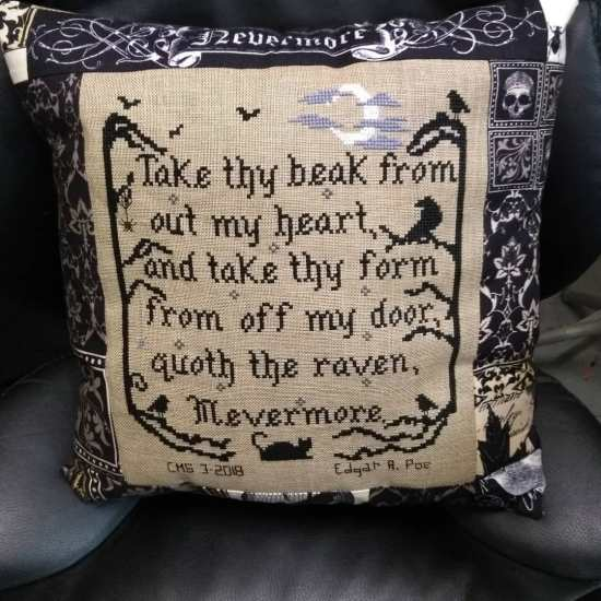 Stitch ALL The Things | Nevermore Raven Pillow front
