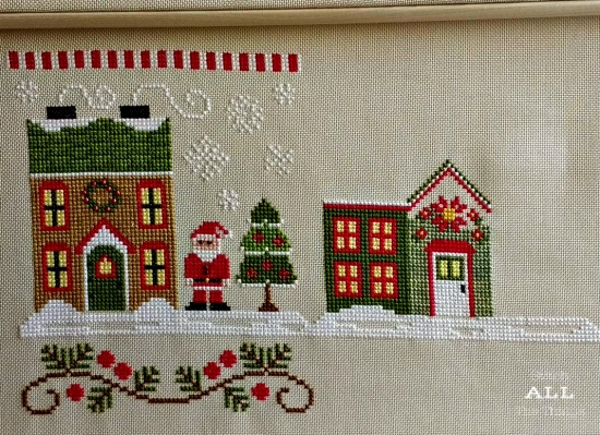 Stitch ALL The Things | Santa's Village Poinsettia Place Progress