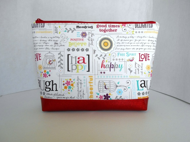 Stitch ALL The Things | Live Laugh Love Red Glitter Vinyl Bottom Project Bag
