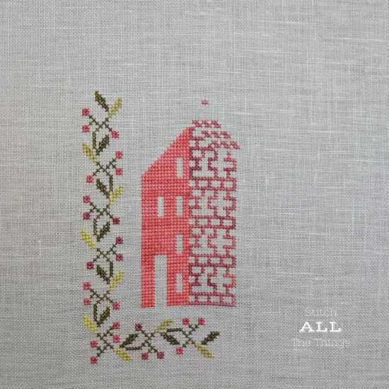 Stitch ALL The Things   Cottage Garden Samplings Peace on Earth Progress Day 3