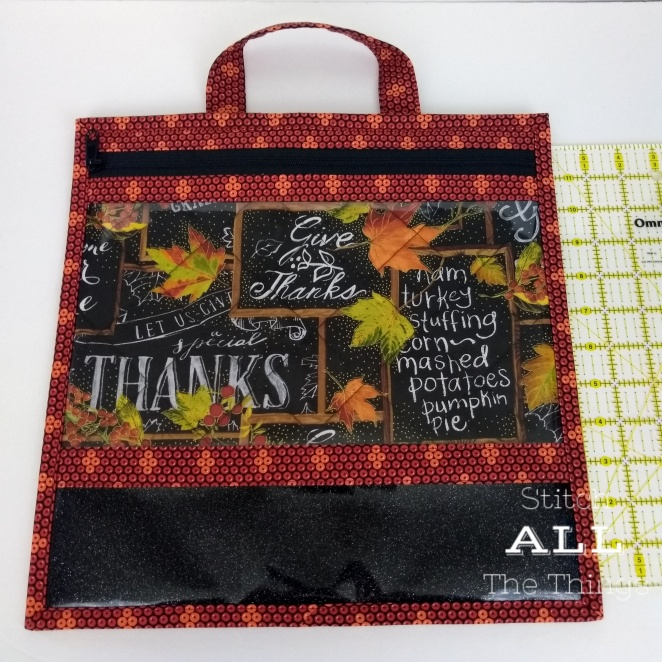Stitch ALL The Things | 13 x 13 Give Thanks Clear Vinyl Front Bag